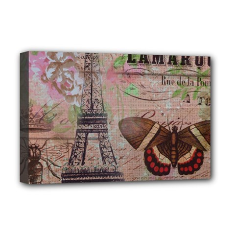 Girly Bee Crown  Butterfly Paris Eiffel Tower Fashion Deluxe Canvas 18  x 12  (Framed)