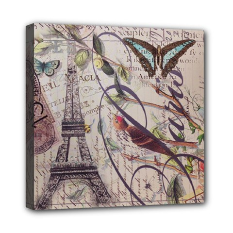 Paris Eiffel Tower Vintage Bird Butterfly French Botanical Art Mini Canvas 8  X 8  (framed)