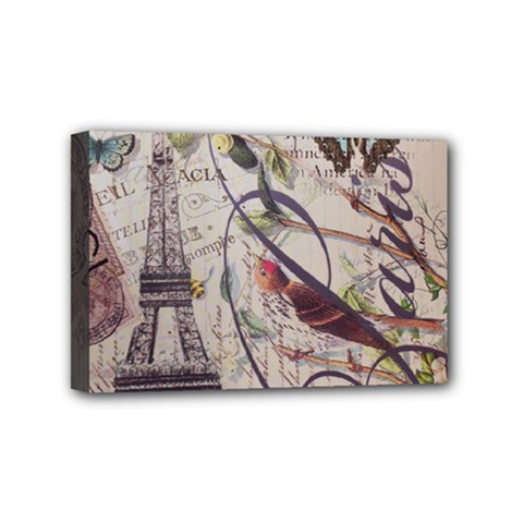 Paris Eiffel Tower Vintage Bird Butterfly French Botanical Art Mini Canvas 6  X 4  (framed)