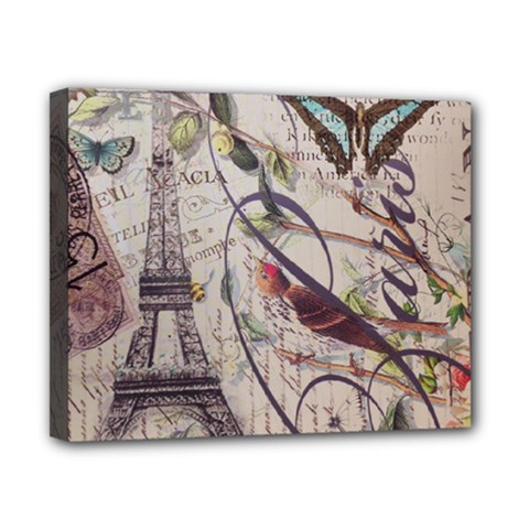Paris Eiffel Tower Vintage Bird Butterfly French Botanical Art Canvas 10  x 8  (Framed)