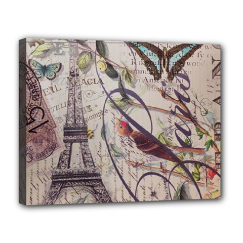 Paris Eiffel Tower Vintage Bird Butterfly French Botanical Art Canvas 14  x 11  (Framed)