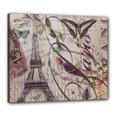 Paris Eiffel Tower Vintage Bird Butterfly French Botanical Art Canvas 24  x 20  (Framed)