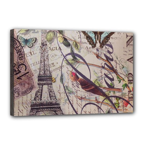 Paris Eiffel Tower Vintage Bird Butterfly French Botanical Art Canvas 18  x 12  (Framed)