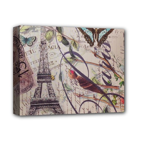 Paris Eiffel Tower Vintage Bird Butterfly French Botanical Art Deluxe Canvas 14  X 11  (framed)