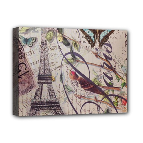 Paris Eiffel Tower Vintage Bird Butterfly French Botanical Art Deluxe Canvas 16  x 12  (Framed)