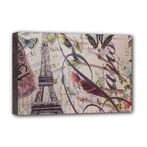 Paris Eiffel Tower Vintage Bird Butterfly French Botanical Art Deluxe Canvas 18  x 12  (Framed)