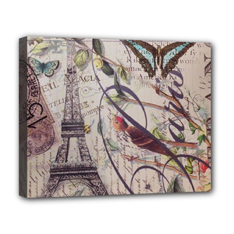 Paris Eiffel Tower Vintage Bird Butterfly French Botanical Art Deluxe Canvas 20  X 16  (framed)