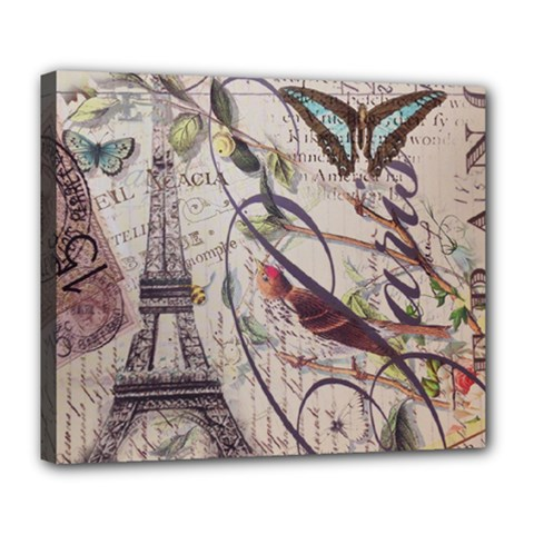 Paris Eiffel Tower Vintage Bird Butterfly French Botanical Art Deluxe Canvas 24  X 20  (framed)