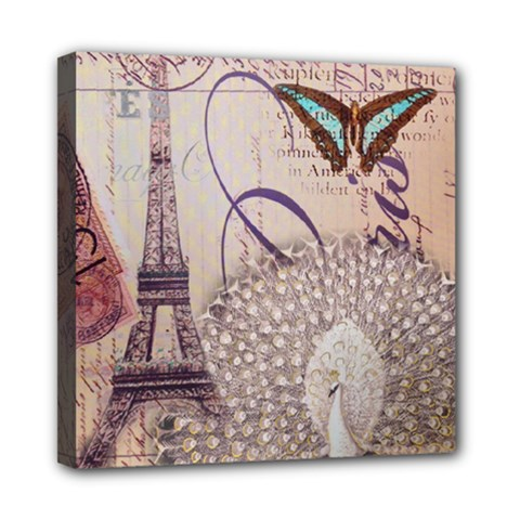 White Peacock Paris Eiffel Tower Vintage Bird Butterfly French Botanical Art Mini Canvas 8  x 8  (Framed)