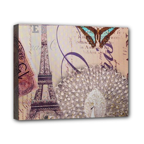 White Peacock Paris Eiffel Tower Vintage Bird Butterfly French Botanical Art Canvas 10  x 8  (Framed)
