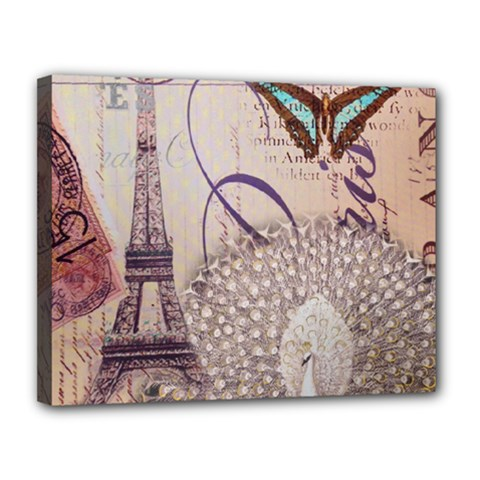 White Peacock Paris Eiffel Tower Vintage Bird Butterfly French Botanical Art Canvas 14  x 11  (Framed)
