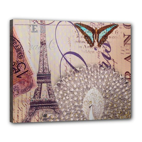 White Peacock Paris Eiffel Tower Vintage Bird Butterfly French Botanical Art Canvas 20  x 16  (Framed)