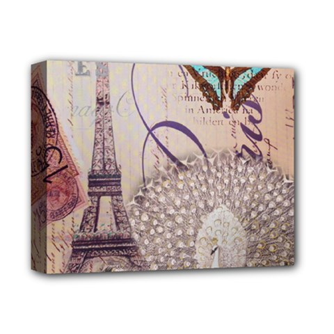 White Peacock Paris Eiffel Tower Vintage Bird Butterfly French Botanical Art Deluxe Canvas 14  x 11  (Framed)