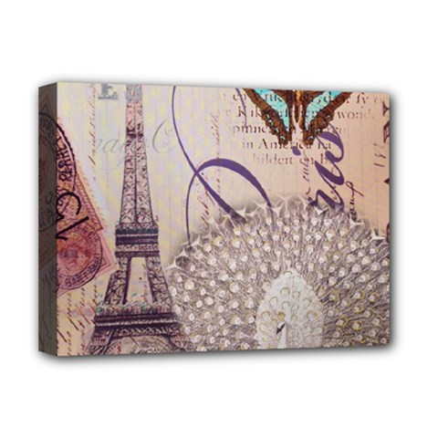 White Peacock Paris Eiffel Tower Vintage Bird Butterfly French Botanical Art Deluxe Canvas 16  x 12  (Framed)