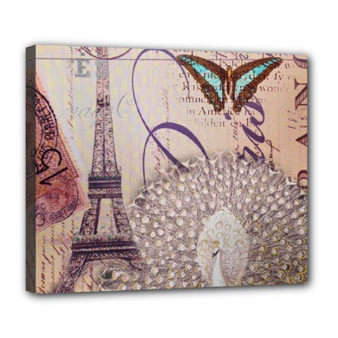 White Peacock Paris Eiffel Tower Vintage Bird Butterfly French Botanical Art Deluxe Canvas 24  x 20  (Framed)