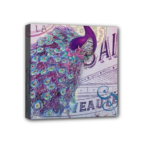 French Scripts  Purple Peacock Floral Paris Decor Mini Canvas 4  x 4  (Framed)