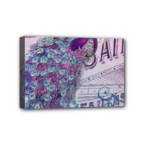 French Scripts  Purple Peacock Floral Paris Decor Mini Canvas 6  x 4  (Framed)