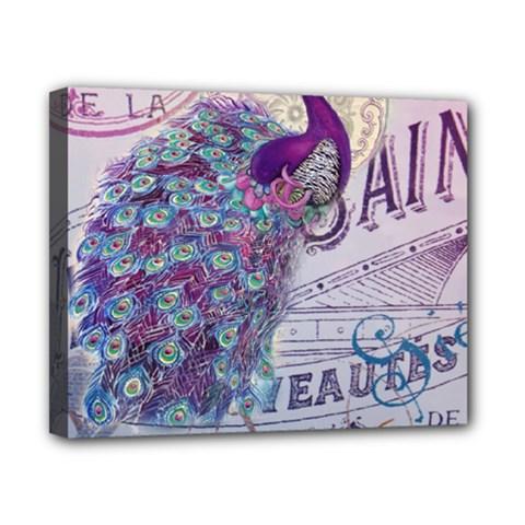 French Scripts  Purple Peacock Floral Paris Decor Canvas 10  x 8  (Framed)