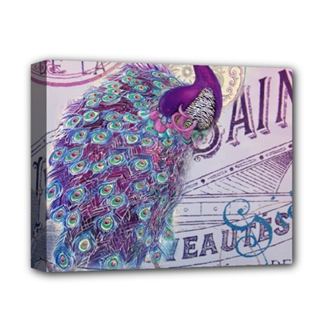 French Scripts  Purple Peacock Floral Paris Decor Deluxe Canvas 14  x 11  (Framed)