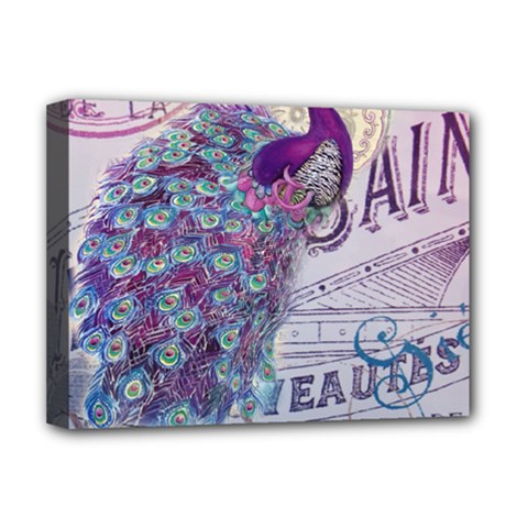 French Scripts  Purple Peacock Floral Paris Decor Deluxe Canvas 16  x 12  (Framed)