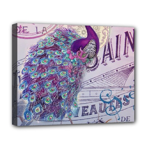 French Scripts  Purple Peacock Floral Paris Decor Deluxe Canvas 20  x 16  (Framed)