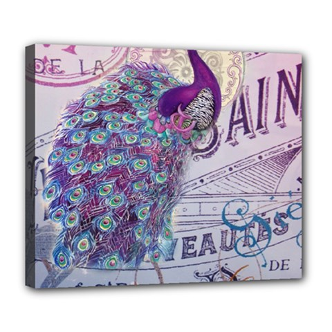 French Scripts  Purple Peacock Floral Paris Decor Deluxe Canvas 24  X 20  (framed)