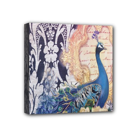 Damask French Scripts  Purple Peacock Floral Paris Decor Mini Canvas 4  x 4  (Framed)