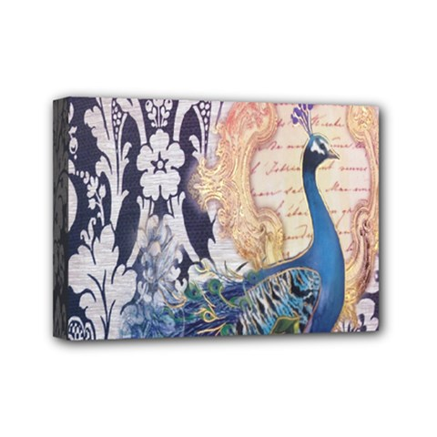 Damask French Scripts  Purple Peacock Floral Paris Decor Mini Canvas 7  X 5  (framed)