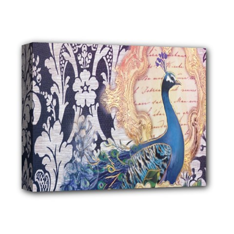 Damask French Scripts  Purple Peacock Floral Paris Decor Deluxe Canvas 14  x 11  (Framed)