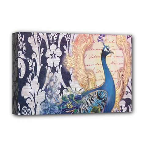 Damask French Scripts  Purple Peacock Floral Paris Decor Deluxe Canvas 18  x 12  (Framed)