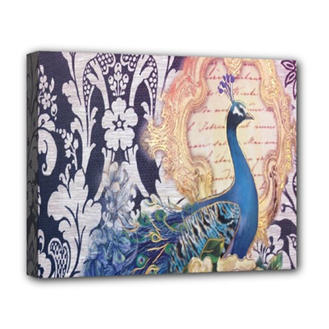 Damask French Scripts  Purple Peacock Floral Paris Decor Deluxe Canvas 20  X 16  (framed)