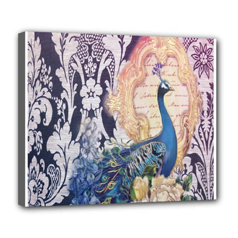 Damask French Scripts  Purple Peacock Floral Paris Decor Deluxe Canvas 24  X 20  (framed)