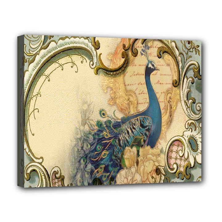 Victorian Swirls Peacock Floral Paris Decor Canvas 14  x 11  (Framed)