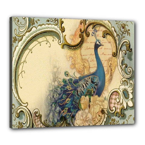 Victorian Swirls Peacock Floral Paris Decor Canvas 24  x 20  (Framed)