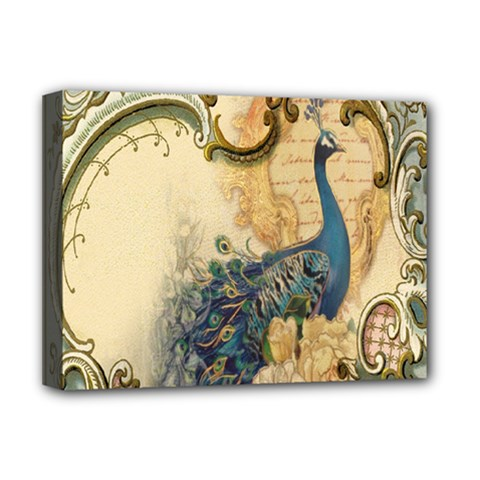 Victorian Swirls Peacock Floral Paris Decor Deluxe Canvas 16  x 12  (Framed)