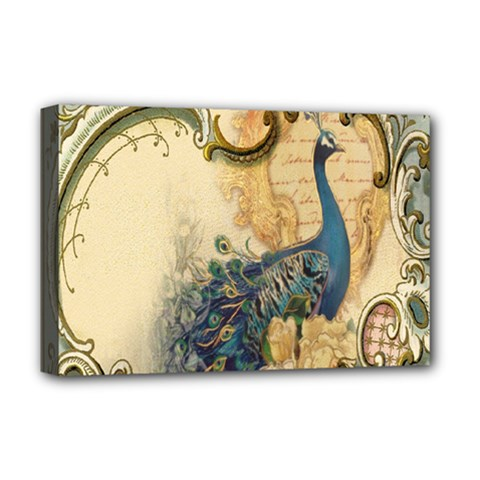 Victorian Swirls Peacock Floral Paris Decor Deluxe Canvas 18  X 12  (framed)