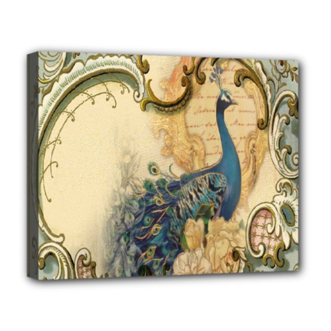 Victorian Swirls Peacock Floral Paris Decor Deluxe Canvas 20  x 16  (Framed)