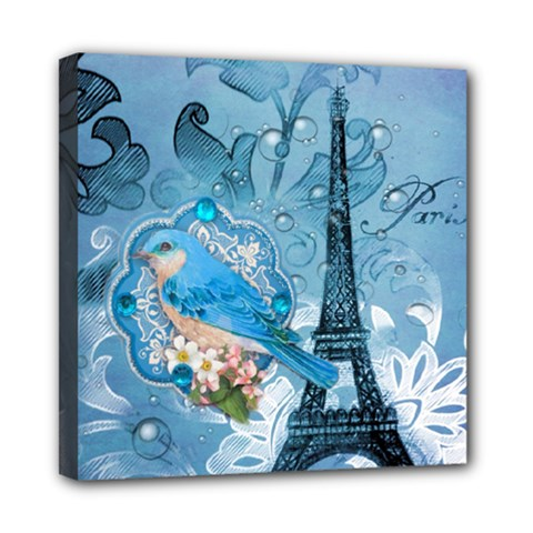 Girly Blue Bird Vintage Damask Floral Paris Eiffel Tower Mini Canvas 8  x 8  (Framed)