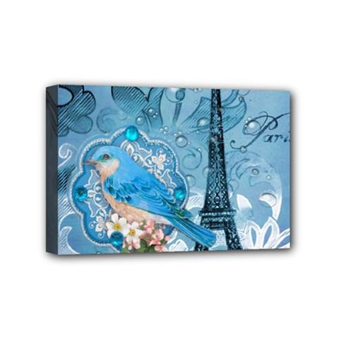 Girly Blue Bird Vintage Damask Floral Paris Eiffel Tower Mini Canvas 6  X 4  (framed)