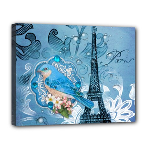Girly Blue Bird Vintage Damask Floral Paris Eiffel Tower Canvas 14  x 11  (Framed)