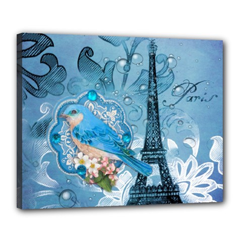 Girly Blue Bird Vintage Damask Floral Paris Eiffel Tower Canvas 20  x 16  (Framed)