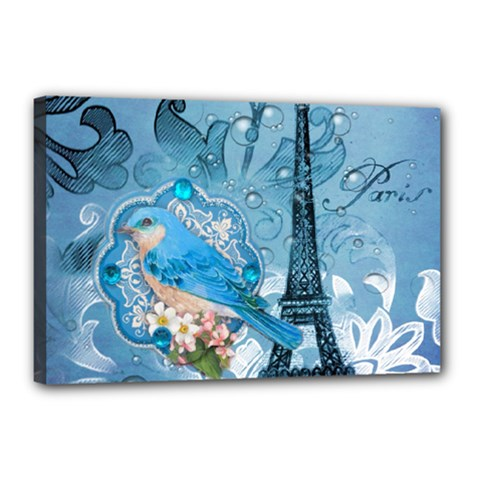 Girly Blue Bird Vintage Damask Floral Paris Eiffel Tower Canvas 18  x 12  (Framed)