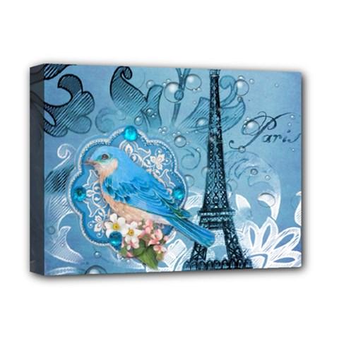 Girly Blue Bird Vintage Damask Floral Paris Eiffel Tower Deluxe Canvas 16  x 12  (Framed)