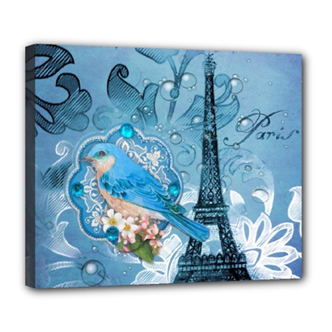 Girly Blue Bird Vintage Damask Floral Paris Eiffel Tower Deluxe Canvas 24  x 20  (Framed)