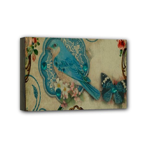 Victorian Girly Blue Bird Vintage Damask Floral Paris Eiffel Tower Mini Canvas 6  x 4  (Framed)