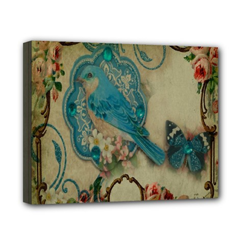 Victorian Girly Blue Bird Vintage Damask Floral Paris Eiffel Tower Canvas 10  x 8  (Framed)
