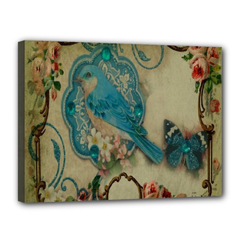 Victorian Girly Blue Bird Vintage Damask Floral Paris Eiffel Tower Canvas 16  x 12  (Framed)