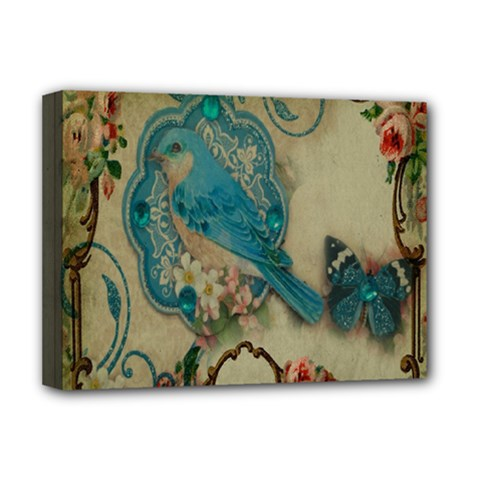 Victorian Girly Blue Bird Vintage Damask Floral Paris Eiffel Tower Deluxe Canvas 16  X 12  (framed)