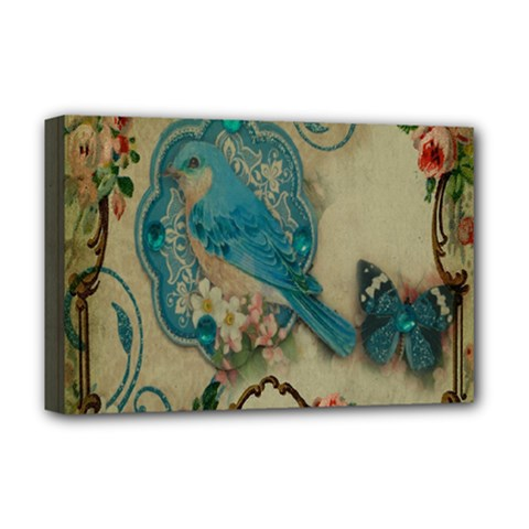 Victorian Girly Blue Bird Vintage Damask Floral Paris Eiffel Tower Deluxe Canvas 18  x 12  (Framed)