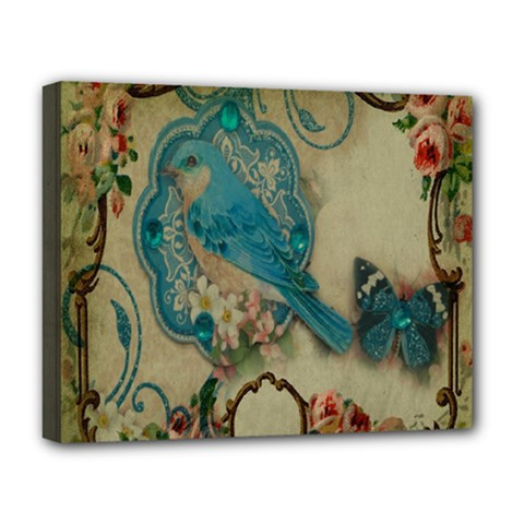 Victorian Girly Blue Bird Vintage Damask Floral Paris Eiffel Tower Deluxe Canvas 20  x 16  (Framed)